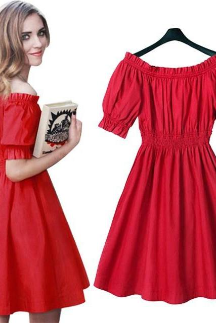 Off the Shoulder Red Puff Sleeve Summer Dress