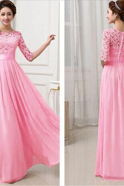 Rose Pink Long Sleeve Floor Length Long Dress