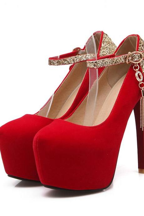 Ankle Straps Glitter Party High Heels Shoes in Blue Red and Black
