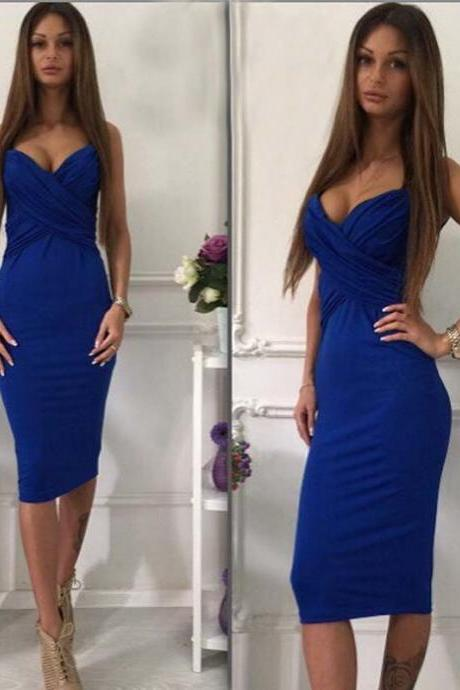 Sleeveless Blue Sheath Dress