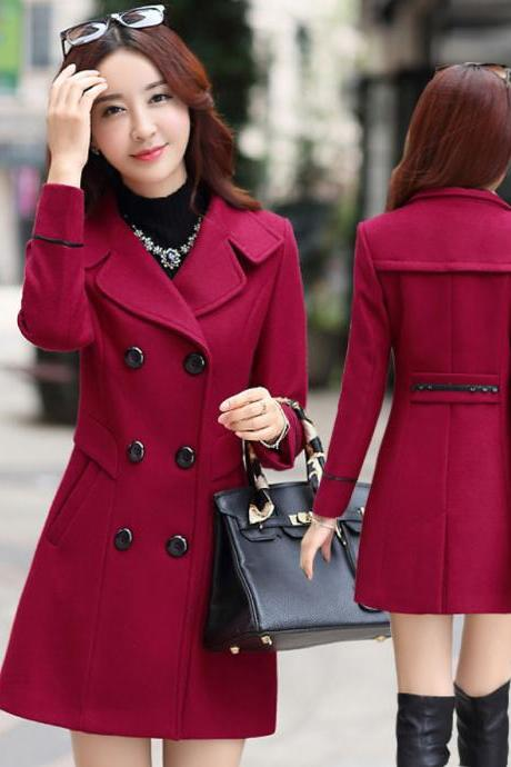 Wine Red Double Breasted Winter Coat