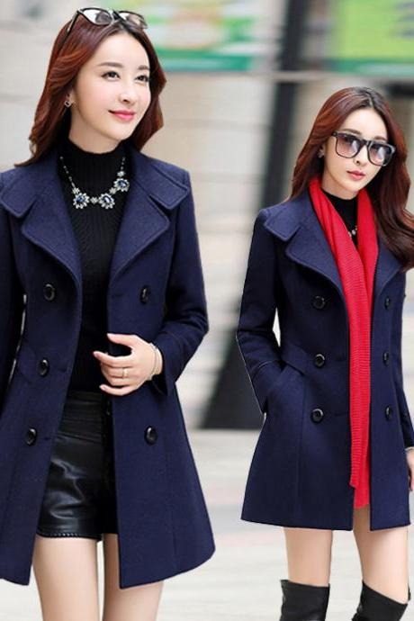 Navy Blue Double Breasted Warm Winter Coat