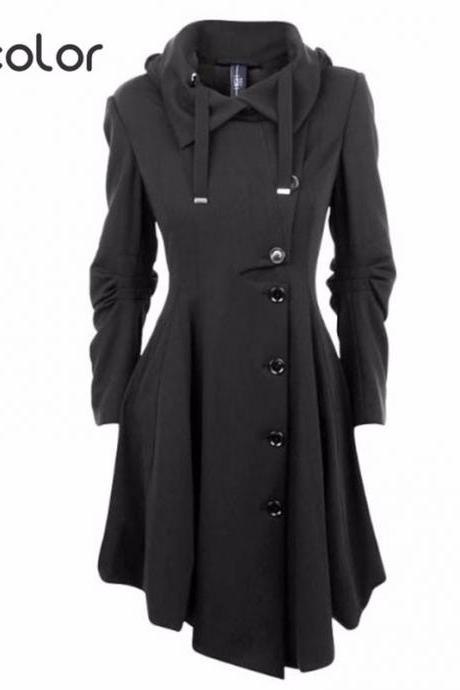 Asymmetric Black Stand Collar Warm Winter Coat