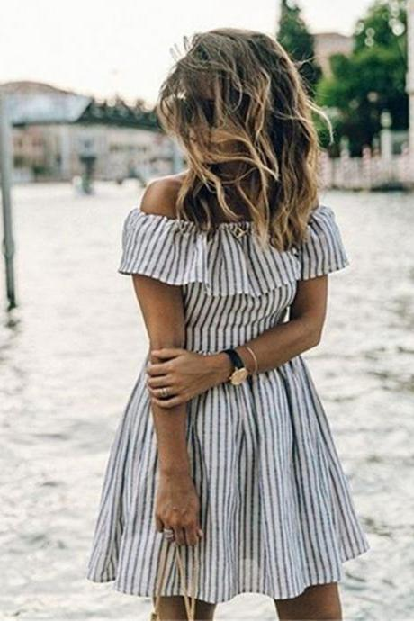 Stripes Off Shoulder Summer Dress