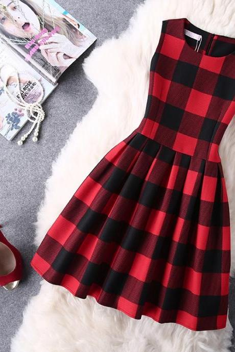 Sleeveless Plaid Summer Dress