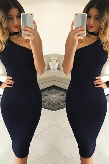 Black One Shoulder Body con dress