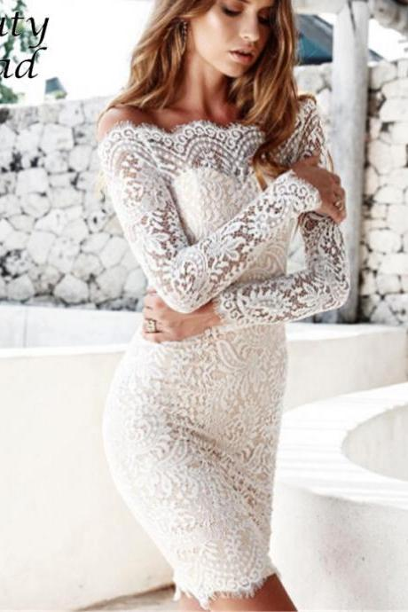 White Off the Shoulder Sexy Lace Long Sleeve Dress