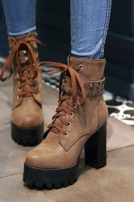 Studded Black and Brown Fashion Boots