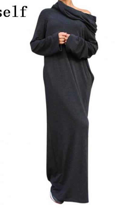 Hooded Autumn and Winter Long Sleeve Maxi Dress
