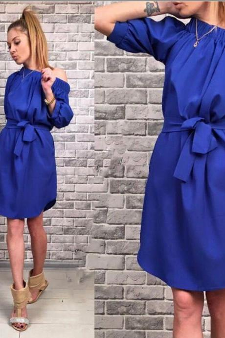 Solid Three Quarter Sleeve Dress