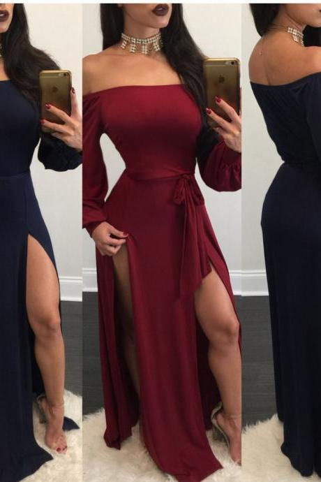 Off Shoulder Body con Long Sleeve Dresses in Black, Red and Green
