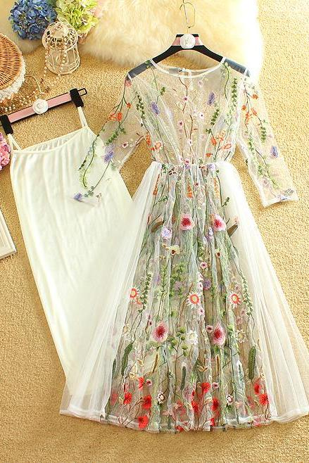 Floral Lace and Chiffon Embroidery Party Dress