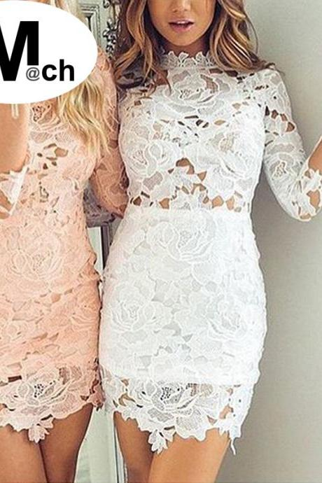 Sexy White Body con Lace Dress