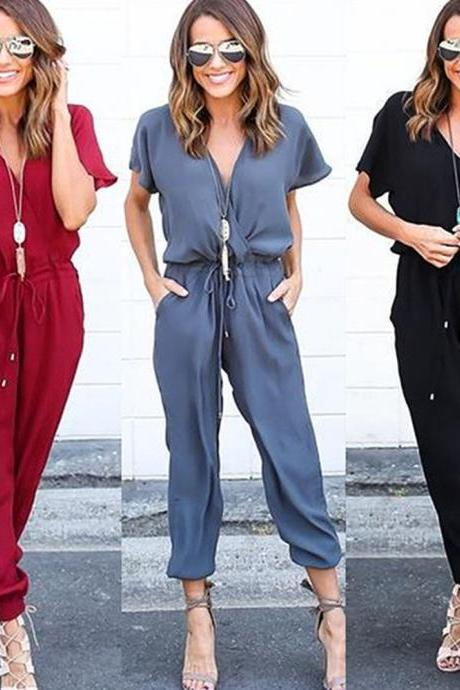 Women Chiffon V Neck Jumpsuits
