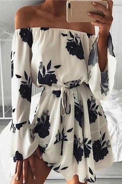 Off Shoulder Floral Printed Flare Sleeve Sexy Dress