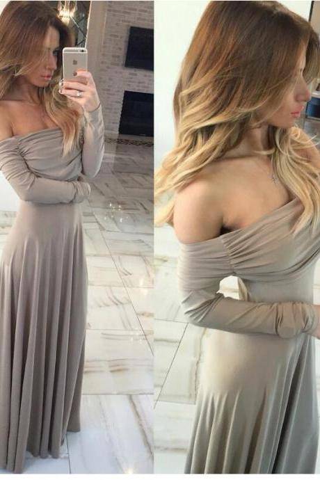 Long Sleeve Off Shoulder Maxi Dress