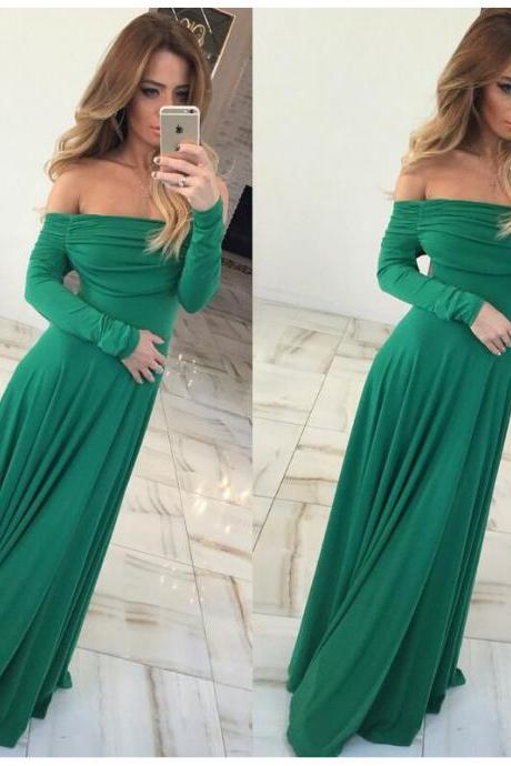 Green Off Shoulder Long Sleeve Dress