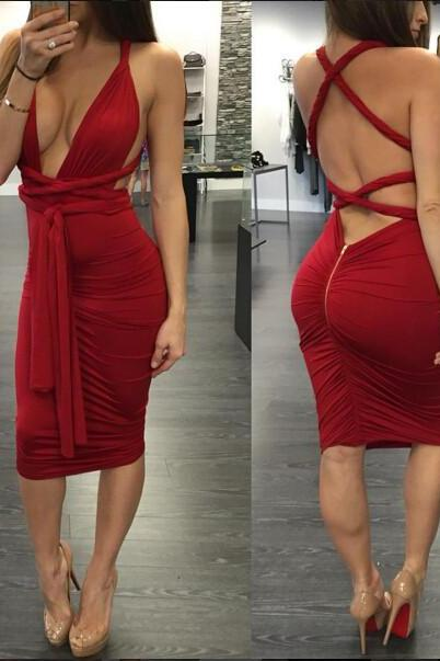 Sexy Red Zip Back Dress