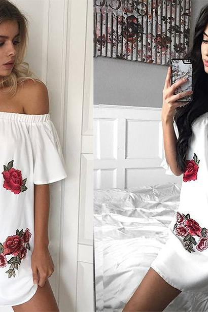 Floral Embroidered Off-The-Shoulder Short Flared Sleeves Short Shift Dress