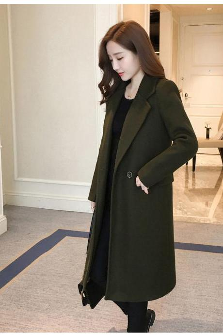 Classy Army Green Autumn and Winter Coat