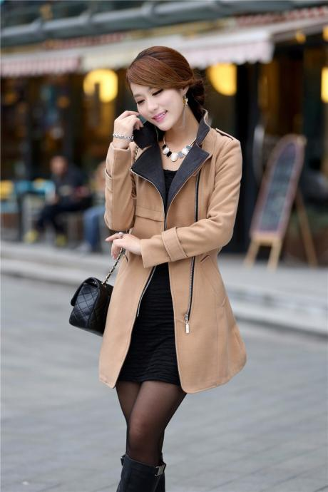 Brown Zip up Woolen Belted Winter Coat