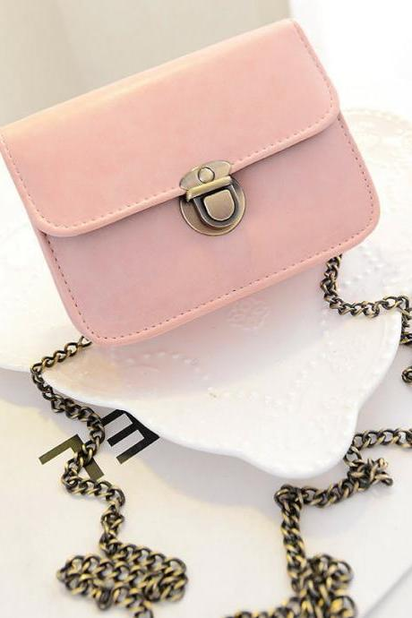 Adorable Leather Mini Adjustable Shoulder Bag with Chain