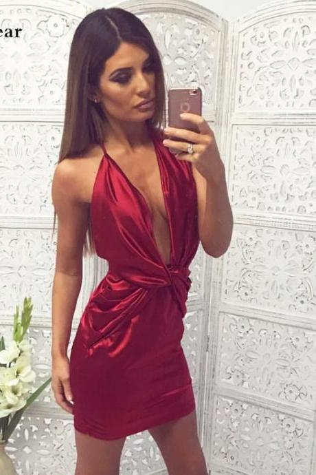 Spaghetti Strap Sexy Red Deep V Neck Party Dress