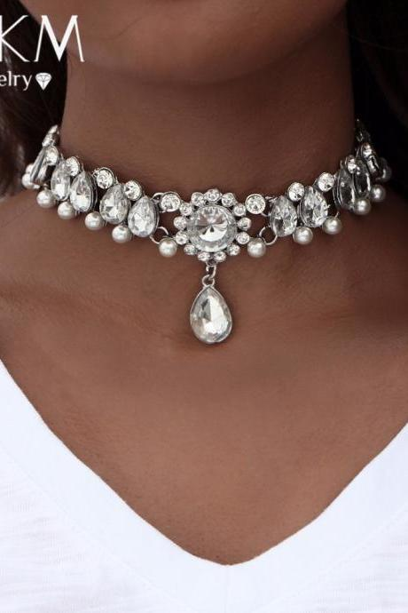Drop Crystal Embellished Statement Choker Necklace