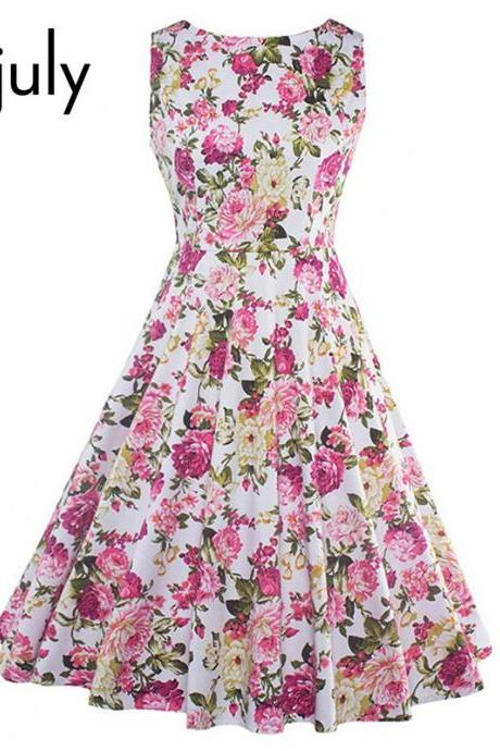Luxury Vintage Style Floral Print Summer Dress