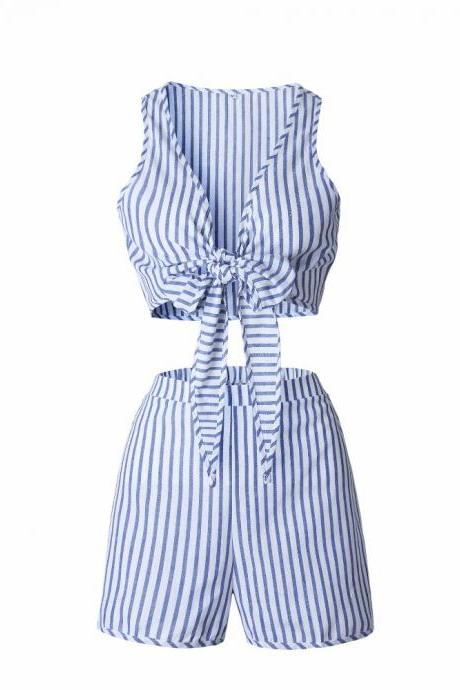 Striped Two Piece Set Blue Jumpsuit Romper