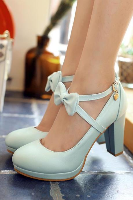 Cross Strap Bow Design High Heels Fashion Shoes