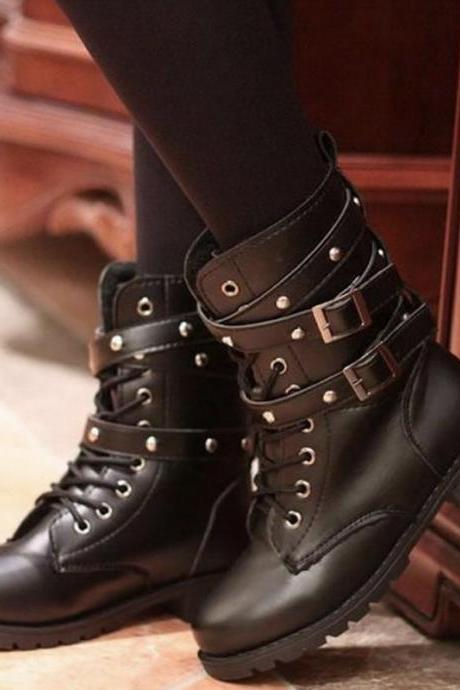 Lace Rivet Design Black Boots