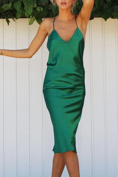 Sexy Green Cross Back Dress