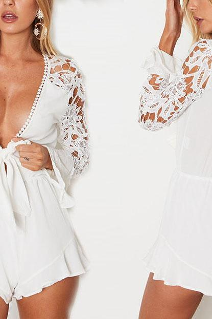Sexy V Neck Lace and Chiffon Rompers