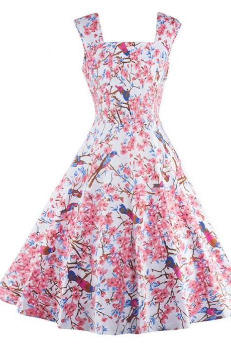 Beautiful Printed Sleeveless Vintage and Retro Party Dress