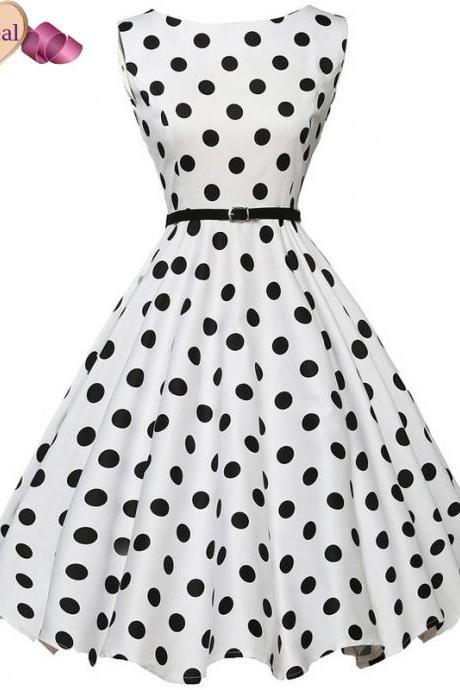 Vintage Retro Polka dots Sleeveless Dress in Black and White