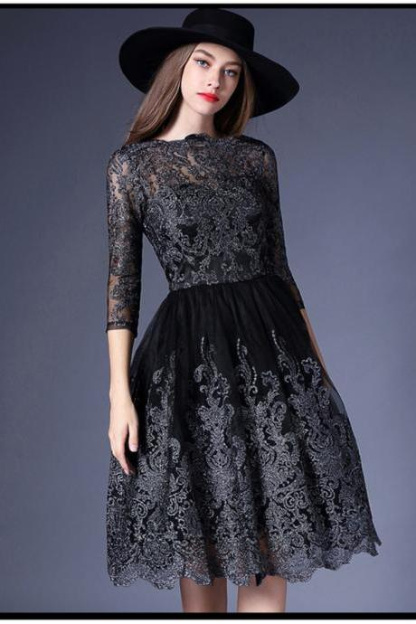 Luxury Black Lace Party Dress
