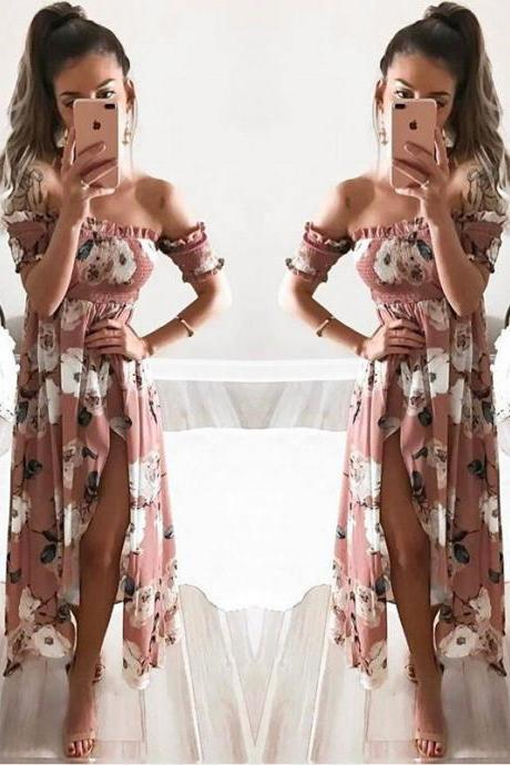 Off Shoulder Floral Printed Summer Dress