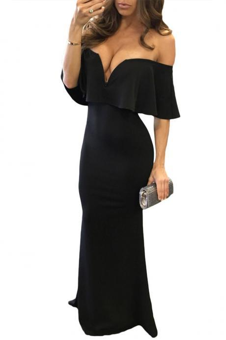 Off Shoulder Body con Mermaid Dress in Black and Red