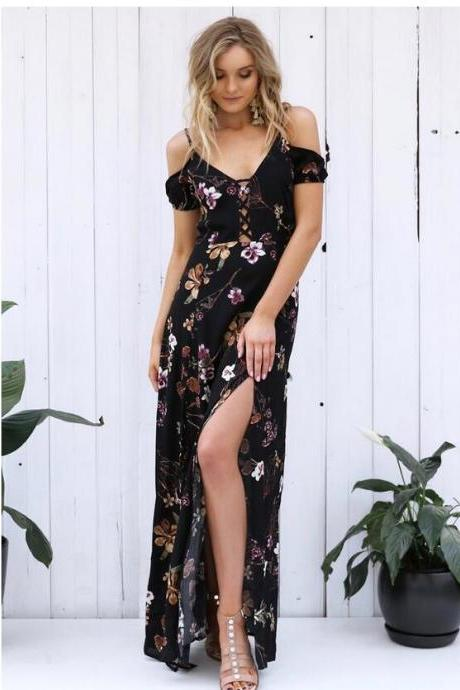 Ruffled Chiffon Black Floral Maxi Dress