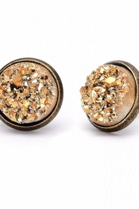 Gorgeous Druzy Quarts Stud Bronze Earrings