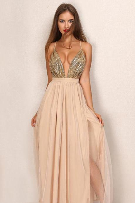 Gorgeous V Neck Party Maxi Dress
