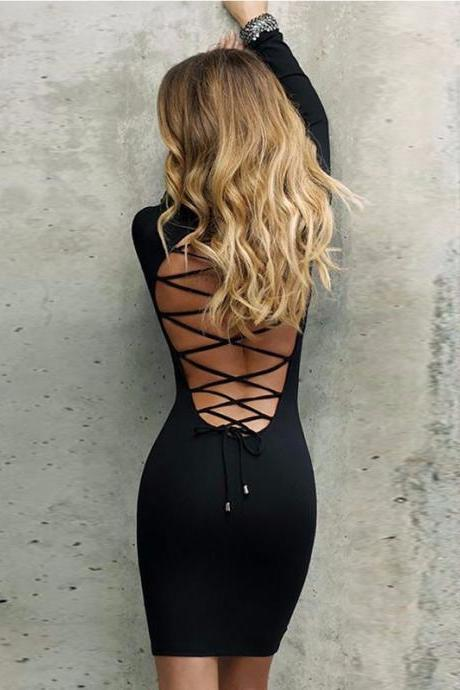 Long Sleeve Black Lace up Back Body con Sexy Dress