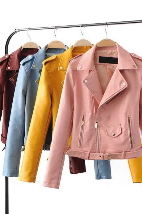 Street Style PU Leather Ladies Jackets