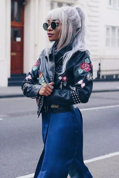 Rivets Black Floral Embroidery Jacket