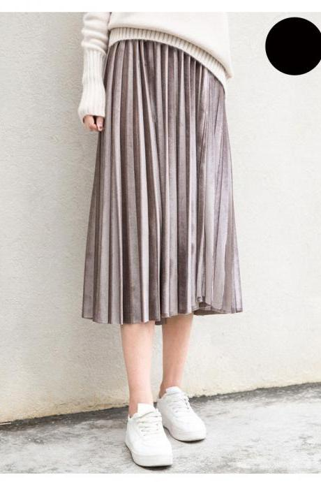 Beautiful Pleated Retro Long Velvet Skirts