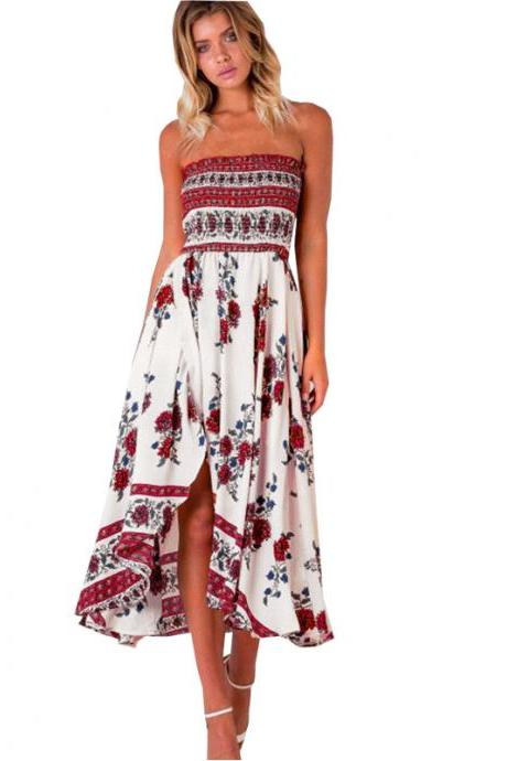 Off Shoulder Summer Printed Long dress