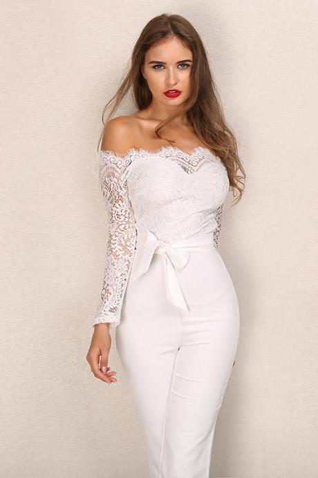 Elegant Off Shoulder Body con White Lace Jumpsuit