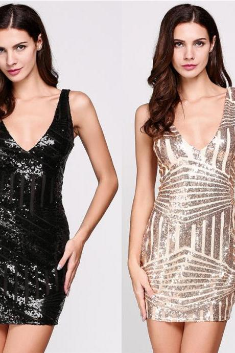 Gorgeous Bodycon Sequined Party dresses in Black and Gold