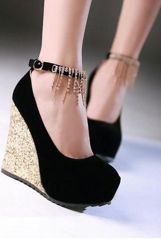 Crystal Ankle Strap Wedge Shoes